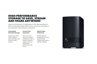 WESTERN DIGITAL My Cloud 20TB EX2 Ultra 2-bay NAS - 1.3GHz Dual-Core CPU,1GB