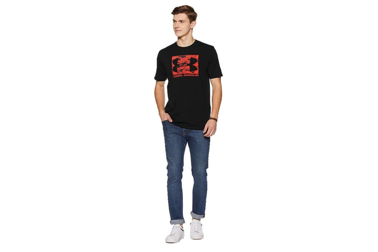 Under Armour Men's Boxed Sportsyle T-Shirt (Black/Neon Coral, Size Extra Large)