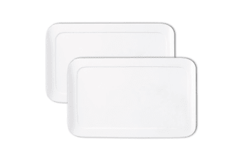 2x Maxwell & Williams 25cm White Basic Curve Rectangle Serving Cheese Platter