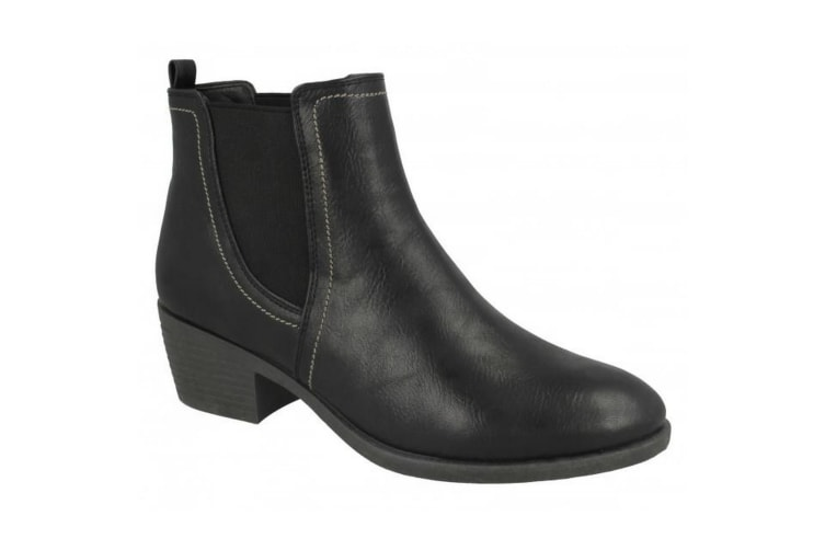 Spot On Womens/Ladies Twin Gusset Ankle Boots (Black) (UK 6)