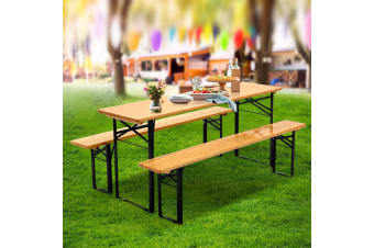 Artiss Outdoor Furniture Setting Table and Chairs 3 PCS Patio Bench Garden Camp