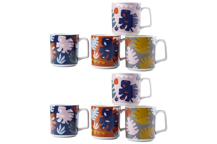 8pc Maxwell & Williams Monstera 360ml Mugs Drinking Glasses Cups for Coffee Tea