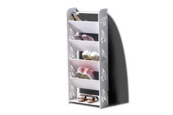 6 Tiers Tilt White Chic Hollow Out Shoe Rack