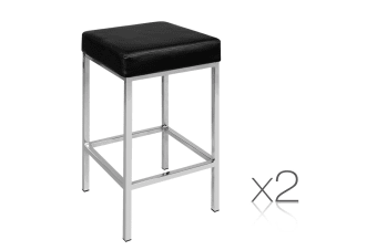 Set of 2 PU Leather Square Kitchen Bar Stool (Black)