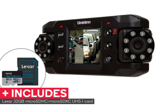 Uniden iGO CAM 820 Dual Camera Black Box Vehicle Recorder with Night Vision with Lexar 32GB High-Endurance microSDHC/microSDXC UHS-I card