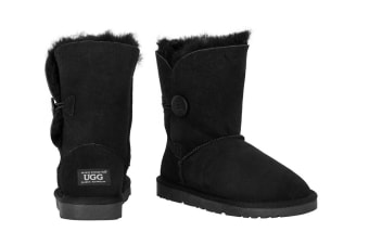 OZWEAR Connection Classic Button Ugg Boots (Black)
