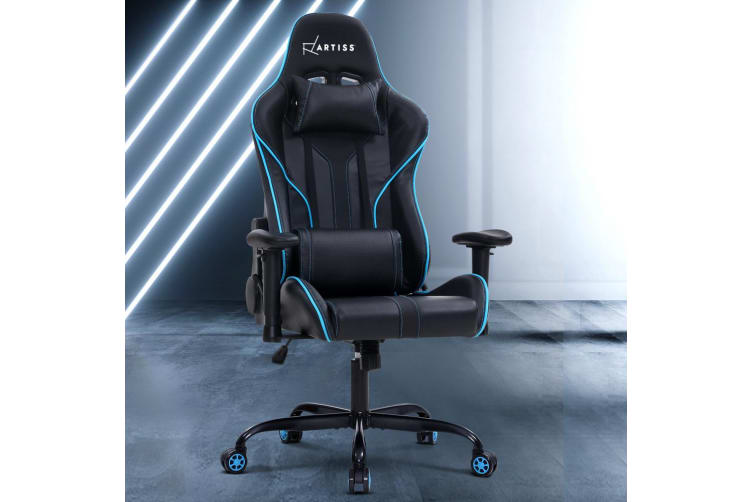 Artiss Gaming Office Chair Computer Chairs Leather Seat Racing Racer Blue