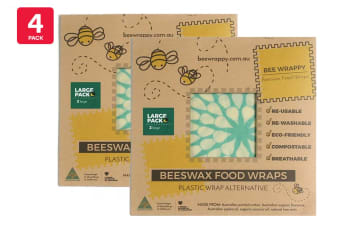 4 Pack Bee Wrappy Beeswax Wraps - Large