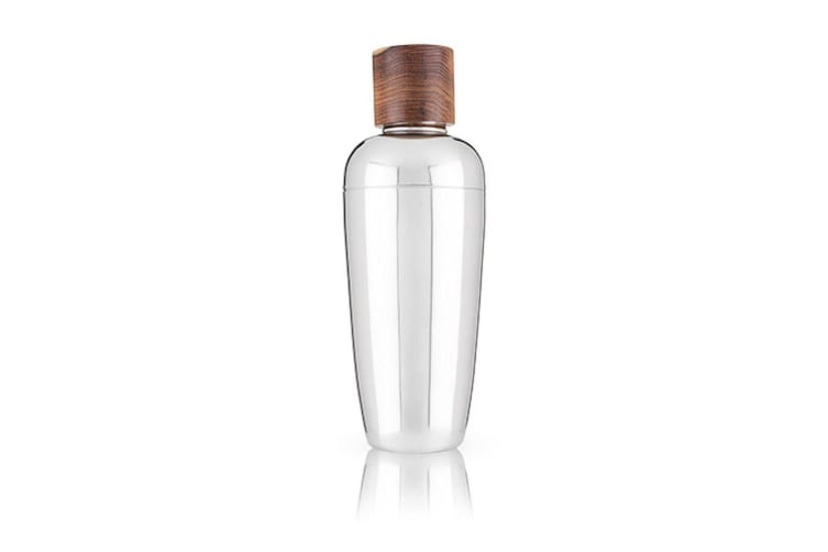 Viski Admiral Stainless Steel Cocktail Shaker With Rosewood Cap