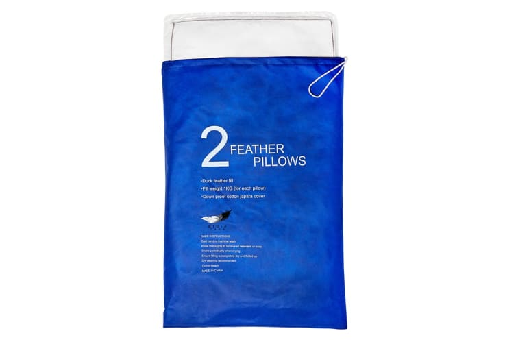 Dick Smith Gioia Casa Twin Pack Feather Pillows 1kg