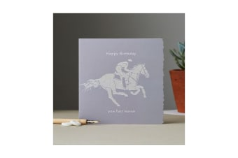 Deckled Edge Colour Block Pony Greetings Card (Happy Birthday You Fast Horse - Racehorse (Grey))