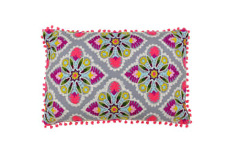 Paoletti Rosa Tile Cushion Cover (Multicoloured/Grey)