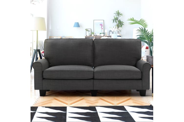 Artiss Sofa Lounge 3 Seater Couch Set Linen Fabric Suite 1780mm Dark Grey