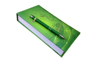 Green Pattern Notepad With Pen