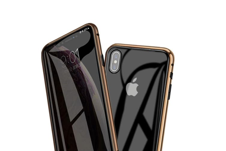 Select Mall 360 Degree Transparent Tempered Glass Cover Strong Magnetic Adsorption Technology Metal Bumper for iPhone-11