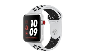 Apple Watch Series 3 (Silver, 38mm, Pure Platinum/Black Nike Sport Band, GPS + Cellular)