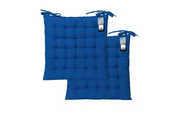 Pack of 2 Basic Chair Pads Blue by IDC Homewares
