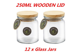 12 x 250ml Round Glass Jars Food Storage Jar Canister Container Wooden Lid Kitchen