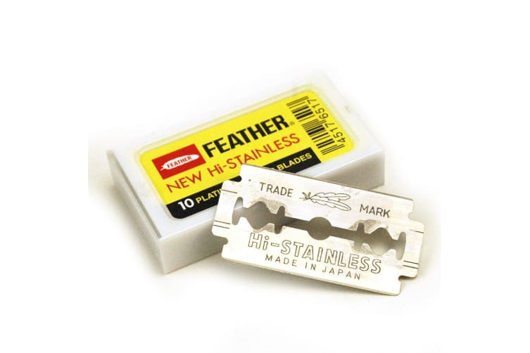 Feather Hi-stainless Platinum Coated Double Edge Blades-50 Blades