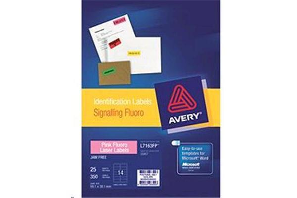 AVERY LABELS 14 UP PINK 25 SHEETS 99.1 X 38.1MM FLUORO  L7163-25FP