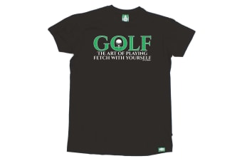 Out Of Bounds Golf Tee - Golf The Art Playing Fetch - (3X-Large Black Mens T Shirt)