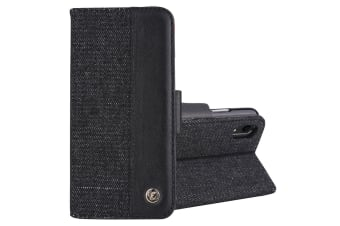 For iPhone XR Black 2-in-1 Denim Pattern Genuine Leather Cover Card Slot
