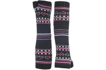 Trespass Childrens Girls Dione Knitted Arm Warmers (Black)