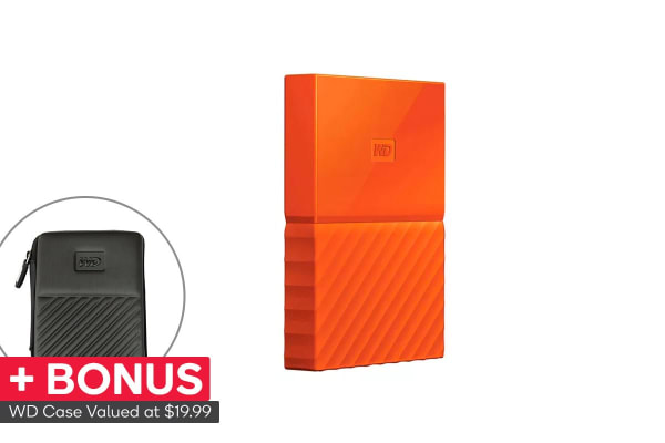 WD My Passport 4TB USB 3.0 Portable Hard Drive - Orange (WDBYFT0040BOR-WESN)
