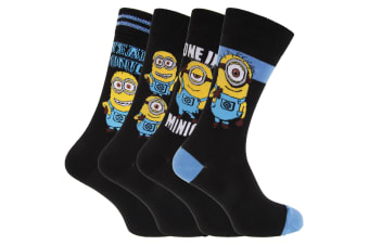Despicable Me Mens Minions Ankle Socks (Pack Of 4) (Black)