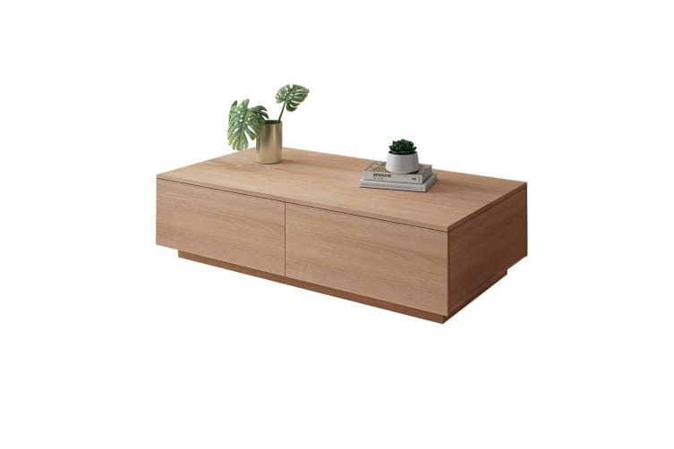 Square Wooden Coffee Table w/ 4 Storage Drawers-Oak