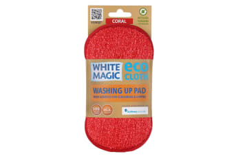 White Magic Microfibre Washing Up Pad - Coral