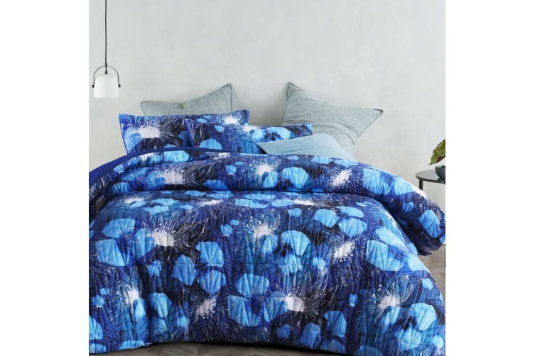 Mitzy Blue Quilted Quilt Cover Set Queen