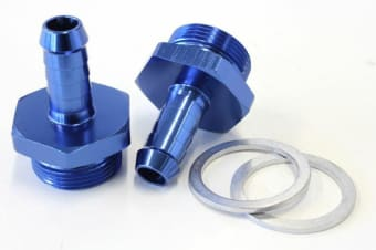 "Aeroflow Holley Inlet Fitting 3/8"" Barb Blue 7/8"" X 20 To 3/8"" Barb"