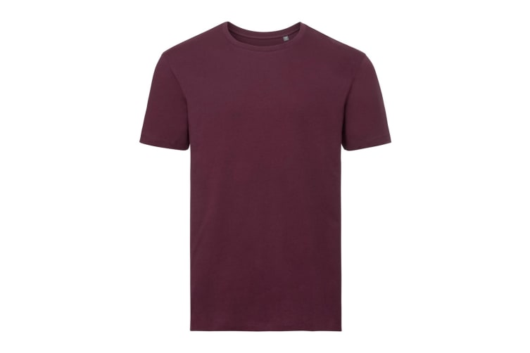 Russell Mens Authentic Pure Organic T-Shirt (Burgundy) (XS)