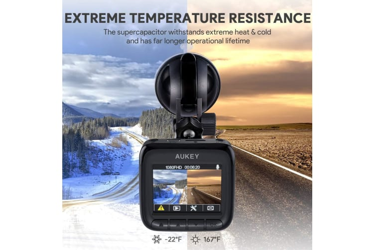 AUKEY Dashboard Camera Recorder with Full HD 1080P Dash Cam Wide Angle Lens LCD