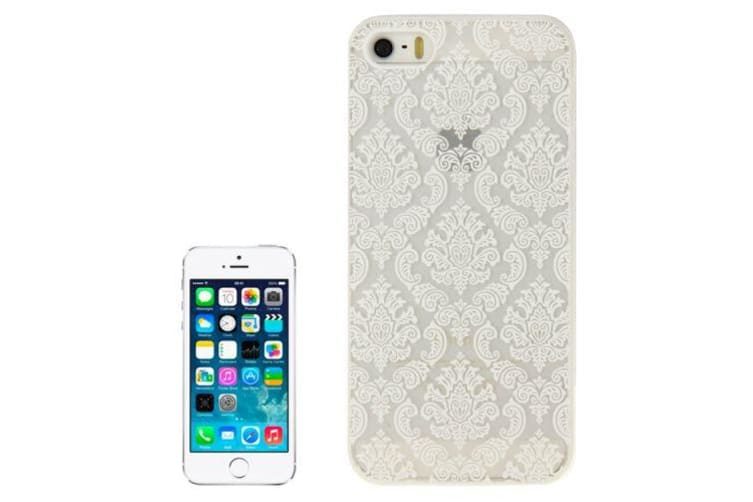 For iPhone SE 5S 5 Case Modern Mystical Flowers Durable Shielding Cover White