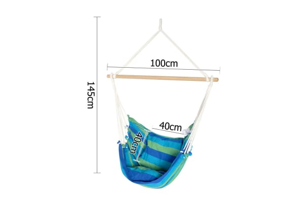 Hammock Swing Chair with Cushion (Blue/Green)