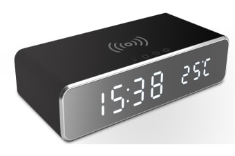 2-in-1 LED Alarm & Wireless Charging Station for Iphone and Android - Black (AU Stock)