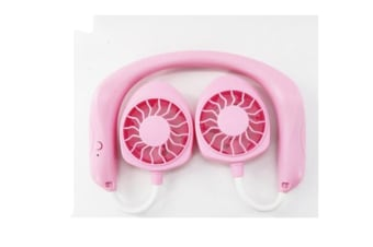 Select Mall Hanging USB Rechargeable Mini Neck Fan Dual Air Cooler Hands-Free Neck Band LED Lazy Fan-Pink
