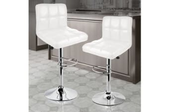 2x PU Leather Swivel Bar stool Gas Lift Adjustable WHITE (ED0205)