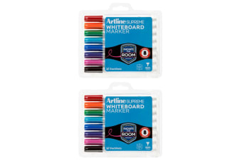 2x 8pc Artline Supreme Whiteboard Markers Coloured Writing Pens Assorted Colours