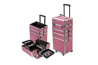 Effleur 7 in 1 Beauty Makeup Case Cosmetics Portable Trolley Holder Pink Box Organiser