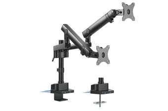 Brateck Dual Monitor Aluminum Slim Pole Held Mechanincal Spring Monitor Arm for