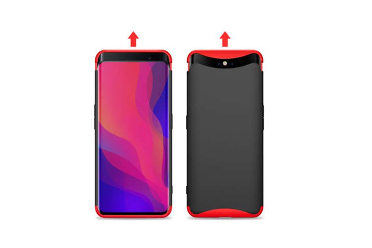 Frosted Shield Matte Plastic Ultra Thin Shockproof Case For Oppo Red+Black F7