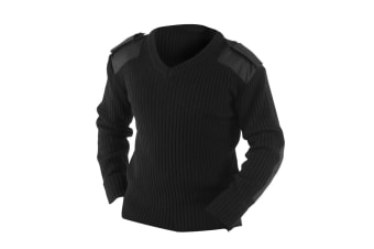 Yoko Mens V-Neck NATO Security Sweater / Workwear (Black) (4XL)