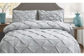 Diamond Pintuck Bed Duvet Doo Quilt Cover Grey Double