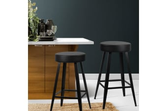 Artiss 2xDORIAN Bar Stools Retro Bar Stool Leather Dining Chair Steel 71cm Black