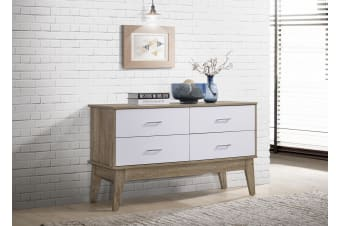 Sideboard 4 Drawers Scandinavian Design - Oak