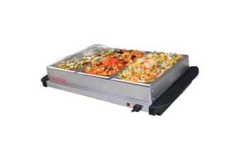 Stainless Steel Electric 3 x 2L Buffet Food Warmer Server Tray Hotplate W Lids