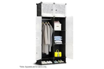 10 Cube DIY Storage Cabinet Wardrobe (Black)